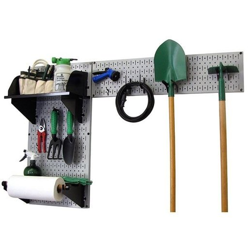 View a Larger Image of Wall Control Pegboard Garden Tool Board Organizer with Gray Pegboard and Black Accessories