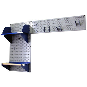 Pegboard Garden Tool Board Organizer with Gray Pegboard and Blue Accessories