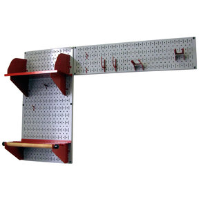 Wall Control Pegboard Garden Tool Board Organizer with Gray Pegboard and Red Accessories