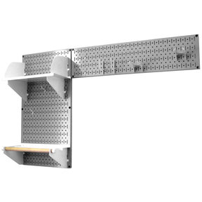 Pegboard Garden Tool Board Organizer with Gray Pegboard and White Accessories
