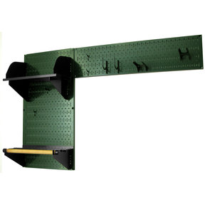 Wall Control Pegboard Garden Tool Board Organizer with Green Pegboard and Black Accessories