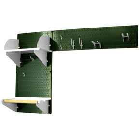 Pegboard Garden Tool Board Organizer with Green Pegboard and White Accessories