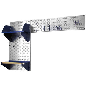 Pegboard Garden Tool Board Organizer with Metallic Pegboard and Blue Accessories