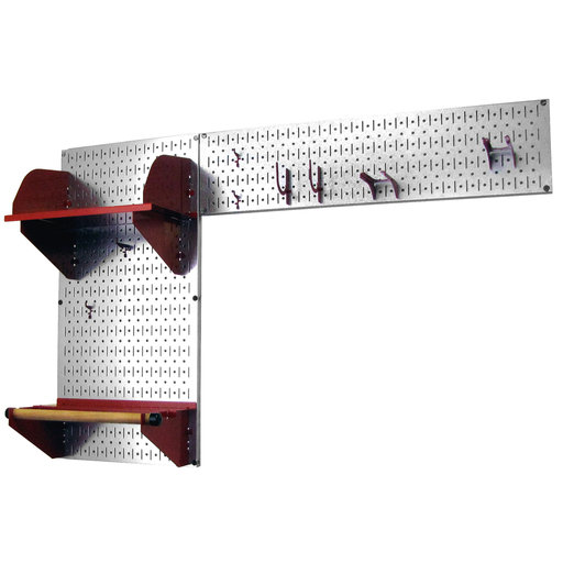 View a Larger Image of Pegboard Garden Tool Board Organizer with Metallic Pegboard and Red Accessories