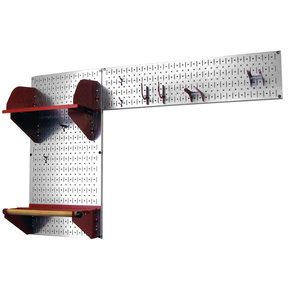 Pegboard Garden Tool Board Organizer with Metallic Pegboard and Red Accessories