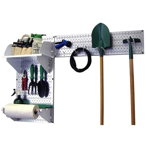 View a Larger Image of Pegboard Garden Tool Board Organizer with Metallic Pegboard and White Accessories