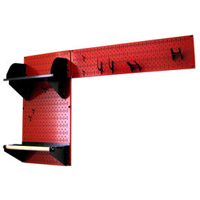 Pegboard Garden Tool Board Organizer with Red Pegboard and Black Accessories