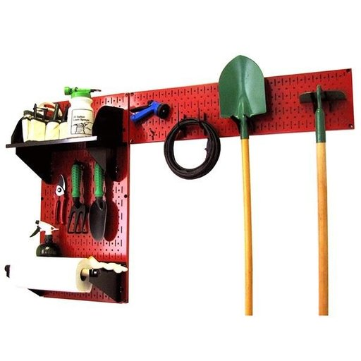 View a Larger Image of Pegboard Garden Tool Board Organizer with Red Pegboard and Black Accessories