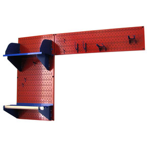 Pegboard Garden Tool Board Organizer with Red Pegboard and Blue Accessories