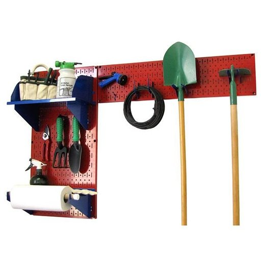 View a Larger Image of Wall Control Pegboard Garden Tool Board Organizer with Red Pegboard and Blue Accessories