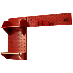 Pegboard Garden Tool Board Organizer with Red Pegboard and Red Accessories