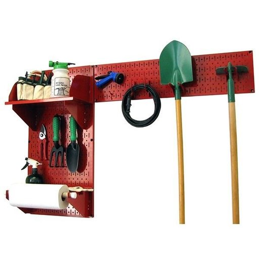 View a Larger Image of Wall Control Pegboard Garden Tool Board Organizer with Red Pegboard and Red Accessories