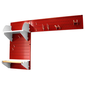 Pegboard Garden Tool Board Organizer with Red Pegboard and White Accessories