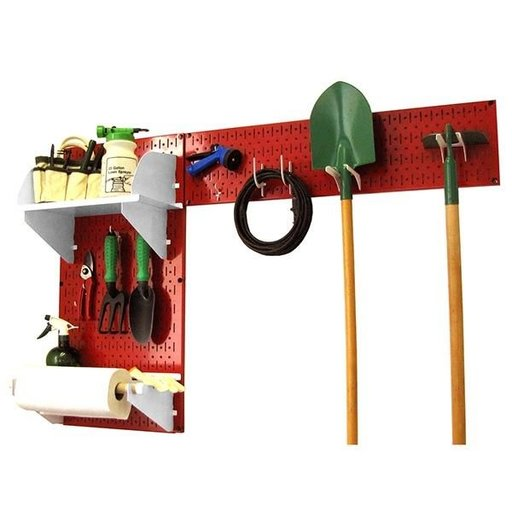 View a Larger Image of Pegboard Garden Tool Board Organizer with Red Pegboard and White Accessories