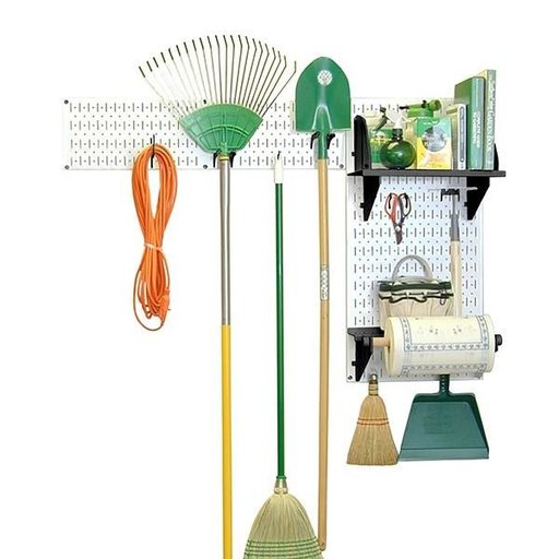 View a Larger Image of Wall Control Pegboard Garden Tool Board Organizer with White Pegboard and Black Accessories