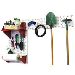 Wall Control Pegboard Garden Tool Board Organizer with White Pegboard and Red Accessories