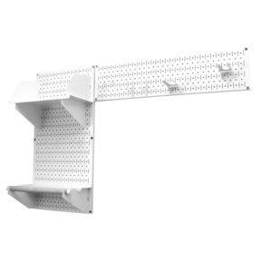 Pegboard Garden Tool Board Organizer with White Pegboard and White Accessories
