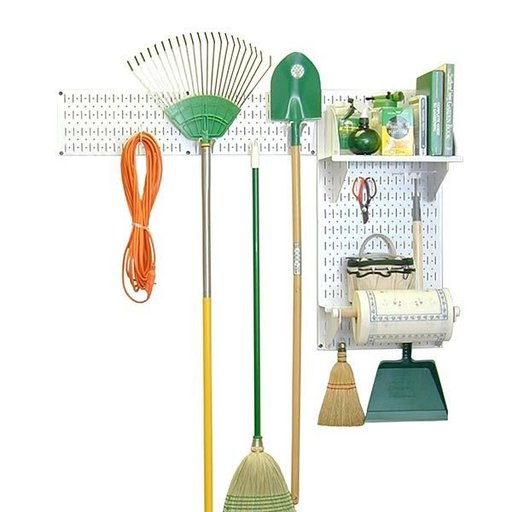 View a Larger Image of Wall Control Pegboard Garden Tool Board Organizer with White Pegboard and White Accessories