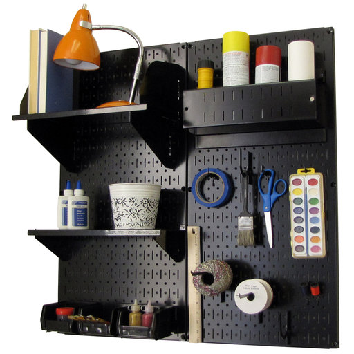 View a Larger Image of Pegboard Hobby Craft Pegboard Organizer Storage Kit with Black Pegboard and Black Accessories