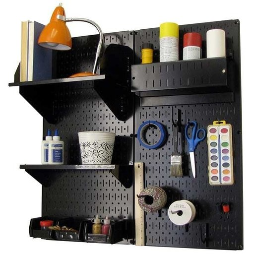 View a Larger Image of Wall Control Pegboard Hobby Craft Pegboard Organizer Storage Kit with Black Pegboard and Black Accessories