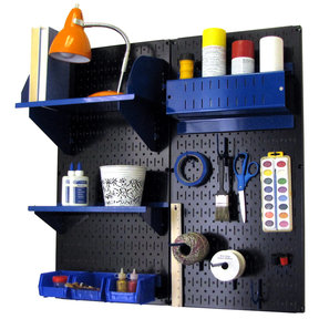 Wall Control Pegboard Hobby Craft Pegboard Organizer Storage Kit with Black Pegboard and Blue Accessories