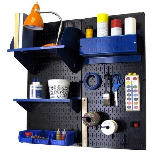View a Larger Image of Pegboard Hobby Craft Pegboard Organizer Storage Kit with Black Pegboard and Blue Accessories