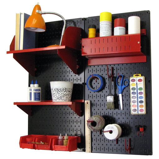View a Larger Image of Pegboard Hobby Craft Pegboard Organizer Storage Kit with Black Pegboard and Red Accessories