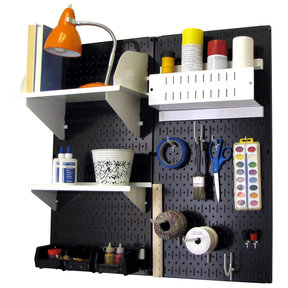 Pegboard Hobby Craft Pegboard Organizer Storage Kit with Black Pegboard and White Accessories