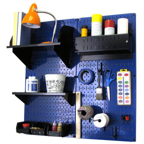 Pegboard Hobby Craft Pegboard Organizer Storage Kit with Blue Pegboard and Black Accessories