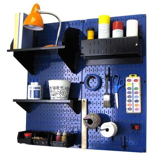 View a Larger Image of Wall Control Pegboard Hobby Craft Pegboard Organizer Storage Kit with Blue Pegboard and Black Accessories