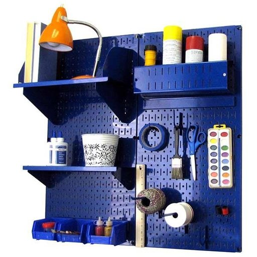 View a Larger Image of Wall Control Pegboard Hobby Craft Pegboard Organizer Storage Kit with Blue Pegboard and Blue Accessories