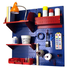 Wall Control Pegboard Hobby Craft Pegboard Organizer Storage Kit with Blue Pegboard and Red Accessories