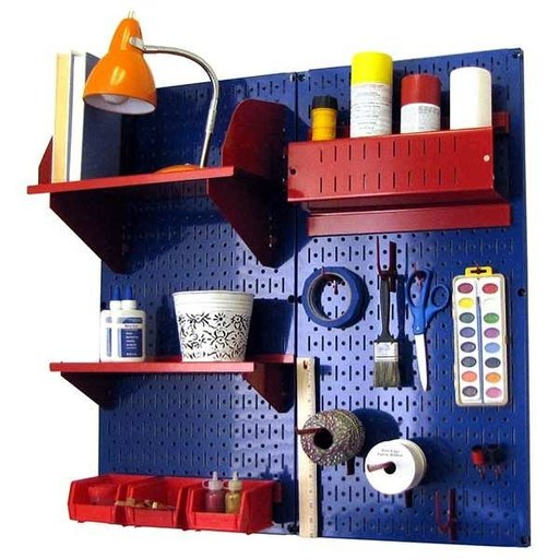 View a Larger Image of Wall Control Pegboard Hobby Craft Pegboard Organizer Storage Kit with Blue Pegboard and Red Accessories