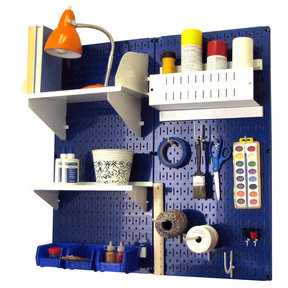 Pegboard Hobby Craft Pegboard Organizer Storage Kit with Blue Pegboard and White Accessories