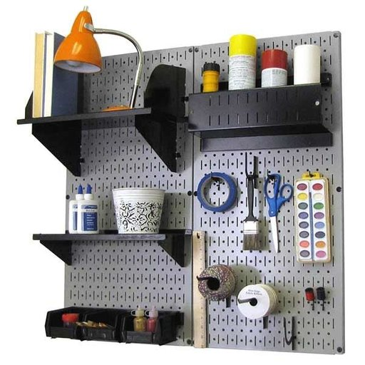 View a Larger Image of Wall Control Pegboard Hobby Craft Pegboard Organizer Storage Kit with Gray Pegboard and Black Accessories