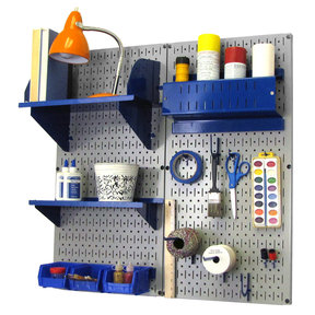 Pegboard Hobby Craft Pegboard Organizer Storage Kit with Gray Pegboard and Blue Accessories