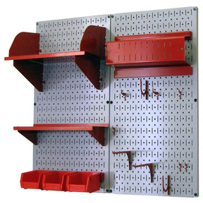 Pegboard Hobby Craft Pegboard Organizer Storage Kit with Gray Pegboard and Red Accessories