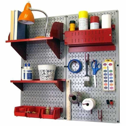 View a Larger Image of Wall Control Pegboard Hobby Craft Pegboard Organizer Storage Kit with Gray Pegboard and Red Accessories
