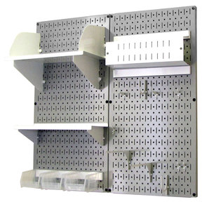 Wall Control Pegboard Hobby Craft Pegboard Organizer Storage Kit with Gray Pegboard and White Accessories