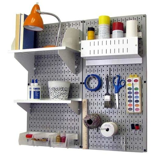 View a Larger Image of Wall Control Pegboard Hobby Craft Pegboard Organizer Storage Kit with Gray Pegboard and White Accessories