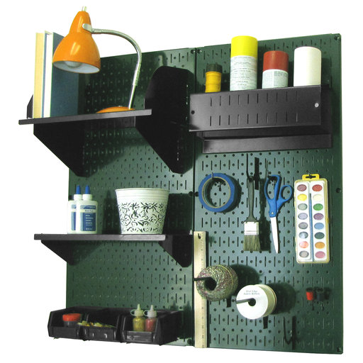 View a Larger Image of Pegboard Hobby Craft Pegboard Organizer Storage Kit with Green Pegboard and Black Accessories