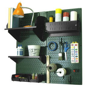 Wall Control Pegboard Hobby Craft Pegboard Organizer Storage Kit with Green Pegboard and Black Accessories
