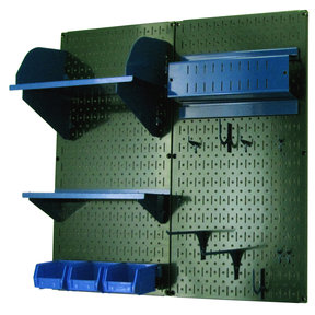 Wall Control Pegboard Hobby Craft Pegboard Organizer Storage Kit with Green Pegboard and Blue Accessories