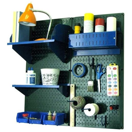 View a Larger Image of Wall Control Pegboard Hobby Craft Pegboard Organizer Storage Kit with Green Pegboard and Blue Accessories