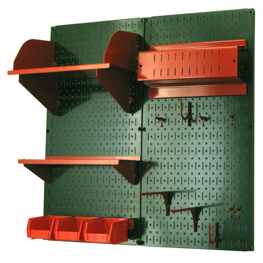 View a Larger Image of Wall Control Pegboard Hobby Craft Pegboard Organizer Storage Kit with Green Pegboard and Red Accessories