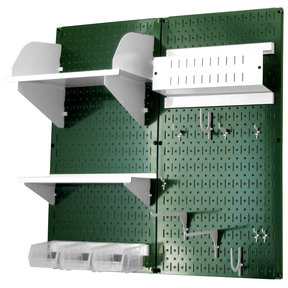 Pegboard Hobby Craft Pegboard Organizer Storage Kit with Green Pegboard and White Accessories