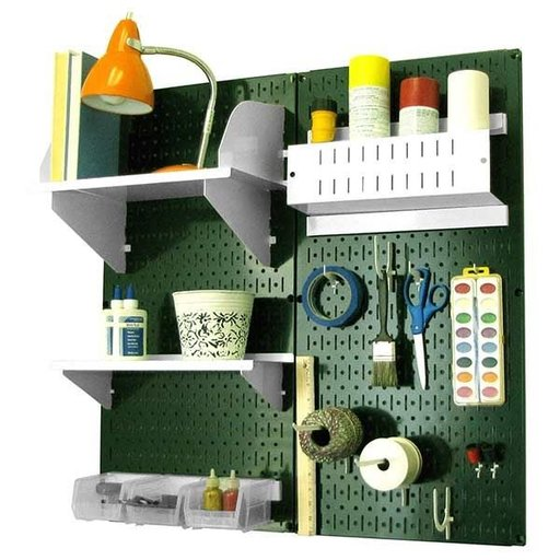 View a Larger Image of Wall Control Pegboard Hobby Craft Pegboard Organizer Storage Kit with Green Pegboard and White Accessories