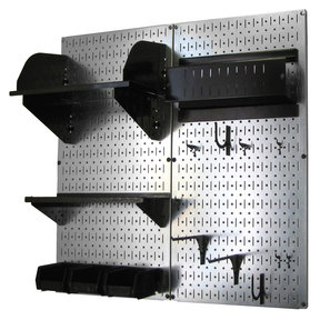 Wall Control Pegboard Hobby Craft Pegboard Organizer Storage Kit with Metallic Pegboard and Black Accessories