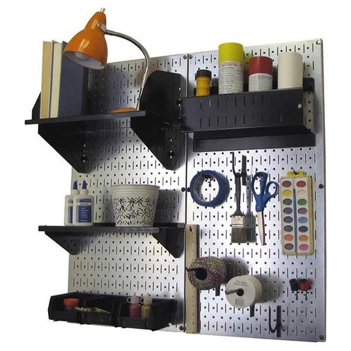 View a Larger Image of Wall Control Pegboard Hobby Craft Pegboard Organizer Storage Kit with Metallic Pegboard and Black Accessories