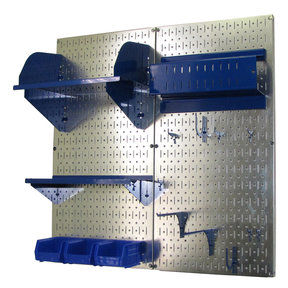 Wall Control Pegboard Hobby Craft Pegboard Organizer Storage Kit with Metallic Pegboard and Blue Accessories